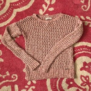 Abercrombie marled red crochet sweater